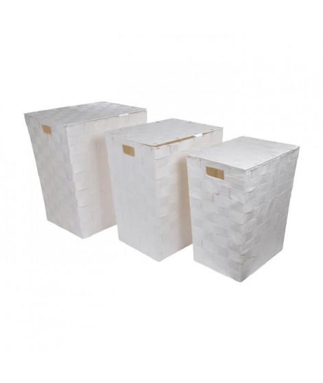 HOMEA Set de 3 coffres a linge avec couvercle H46-50-54 cm blanc pur