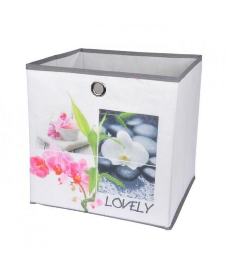 HOMEA Panier de rangement Lovely 31x29x31 cm blanc et multicolore