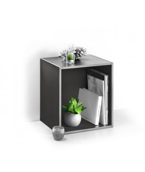 HOMEA Cube de rangement avec 1 niche 34,4x34,4x29,5 cm gris