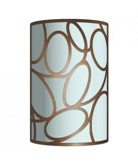 ELOS Applique tôle acier verre cylindre 15x23x9 cm Marron Anthracite