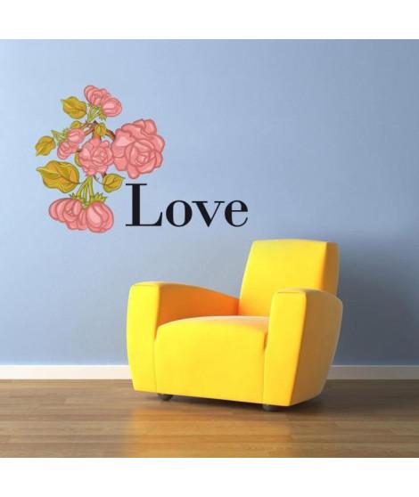 Stickers adhésif mural Love Pink Roses - 57x40cm