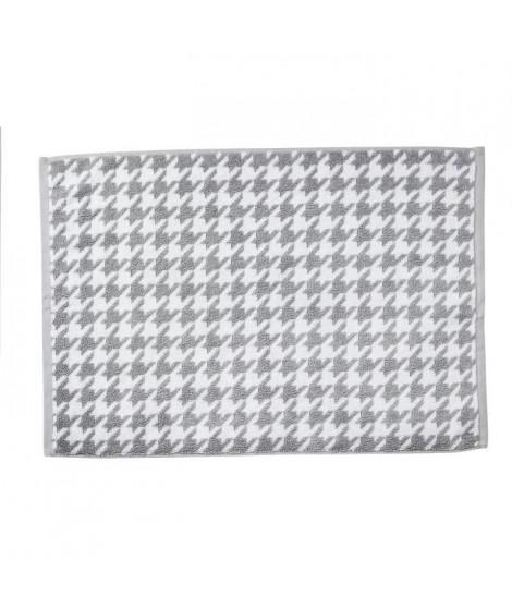 DONE Tapis de bain Bird - Argent & Blanc - 50x70cm