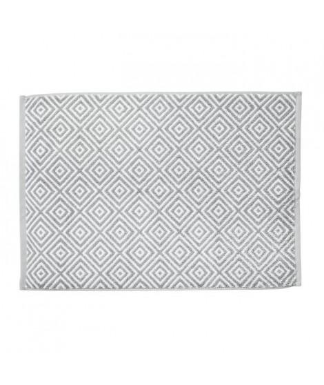 DONE Tapis de bain Diamond - Argent & Blanc - 50x70cm