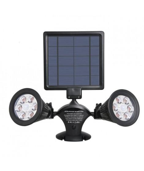 LUMISKY Projecteur double spot solaire extérieur étanche avec détecteur- 12 LEDs - 600 Lm