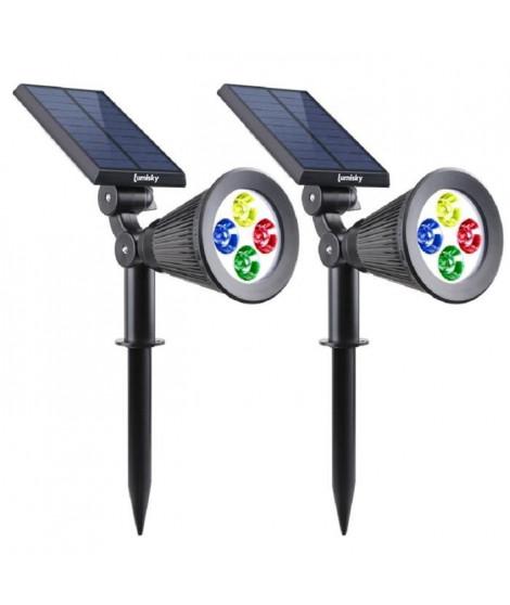 LUMISKY Pack de 2 Spots solaires extérieur étanches - 4 LEDs RGB - 200 Lm - Tete pivotante a 90°C