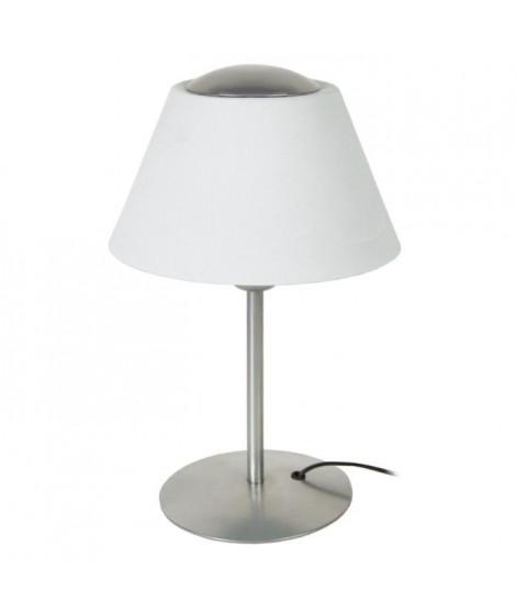 Lampe tube et abat-jour Polycone 35 cm 20 W équivalent a 75 W blanc et gris