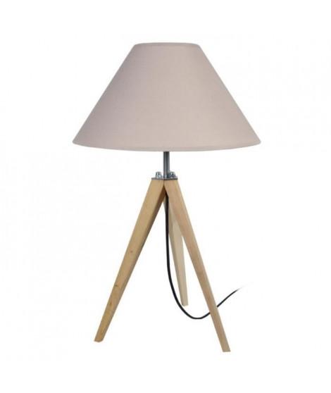 IDUN Lampe a poser trépied en bois naturel avec abat-jour conique en coton taupe  E27 30x56 cm