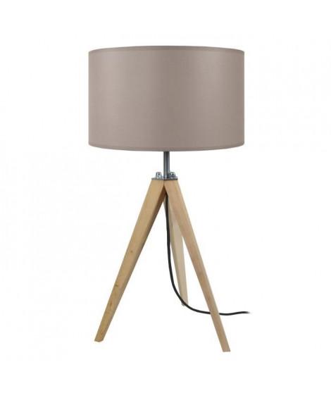 IDUN Lampe a poser trépied en bois naturel avec abat-jour cylindrique en coton écru  E27 30x56 cm
