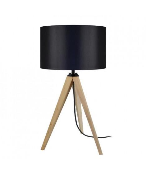 TOSEL Lampe a poser trépied en bois naturel avec abat-jour cylindrique en coton noir Idun E27 30x56 cm