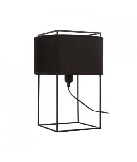 ZELI Lampe a poser contemporaine en métal noir et abat-jour en coton noir - H40 cm ? ampoule E27 60W max ampoule non incluse