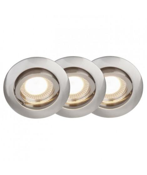 BRILLIANT Kit de 3 spots encastrés orientables LED Easy Clip diametre 8 cm GU10 5W acier