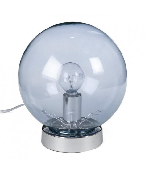 BALL Lampe tactile verre fumé gris - 3 positions d'intensité d'éclairage: faible, moyen, fort - ø18cm H20cm ? ampoule E14 28…