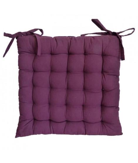 Galette de chaise 40x40x4 cm Aubergine