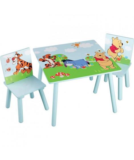WINNIE L'OURSON - Ensemble Table et 2 Chaises Bois Enfant - Bleu et Multicolore