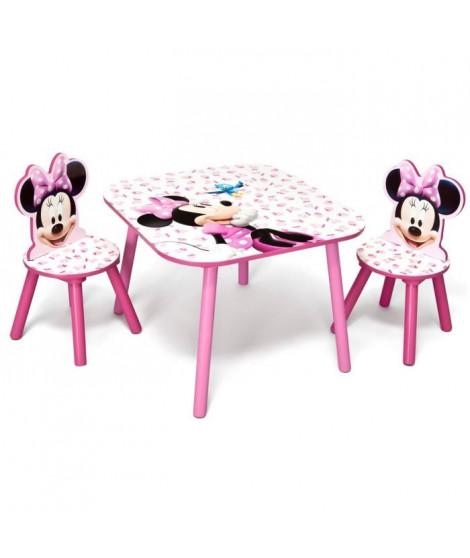 MINNIE - Ensemble Table et 2 Chaises Bois Enfant - Rose et Multicolore