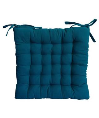 Galette de chaise 25 points 40x40x4cm bleu canard