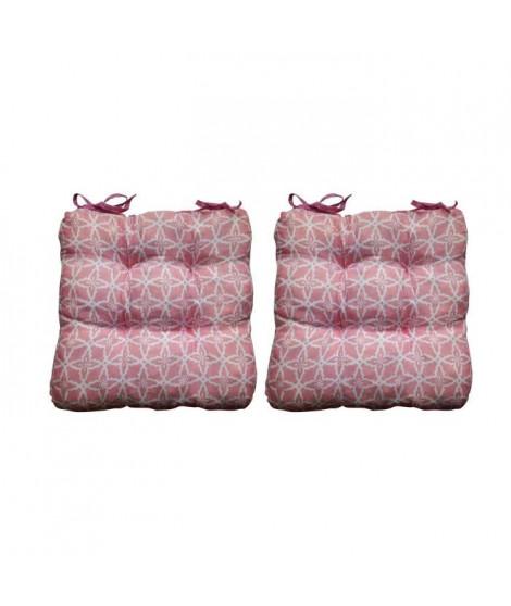 O'CBO Lot de 2 galettes de chaises MAX GEOMETRICO 38x38 cm - Rose