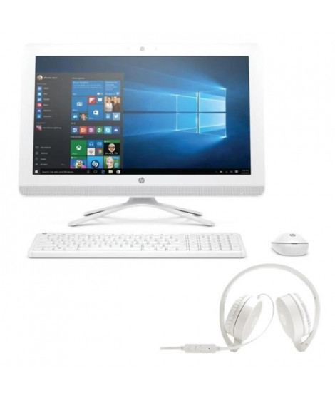 "Pack HP PC Tout en un-22b000nf - Blanc - 21,5""- 4Go de RAM - Windows 10 -Core i3- Intel HD 520- Disque Dur 2To+ Casque stéréo"