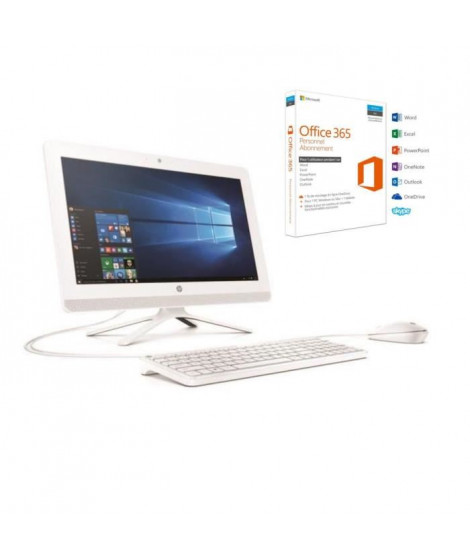 "HP PC Tout-en-un - 20""- 20c010nf - 4Go de RAM - Windows 10 - AMD E2-7110- AMD RADEON R2 - Disque dur 1TO + Office"