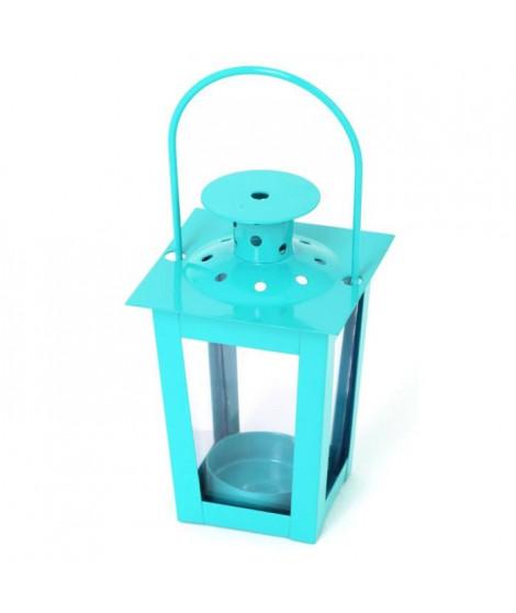 Lanterne carrée en métal 7,5x7,5x12cm - Turquoise
