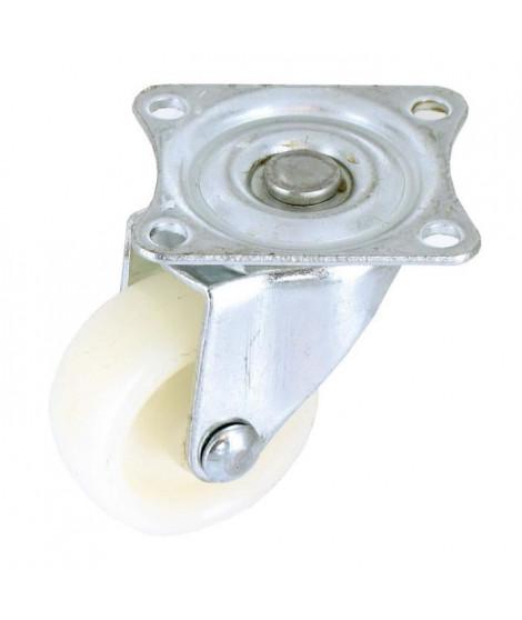 Roulette a platine pivotante - Ø 30 mm - Roue plastique - Blanc