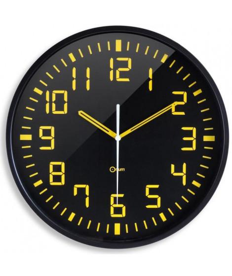 ORIUM Horloge murale silencieuse Contraste - Ø 30 cm - Noir et jaune