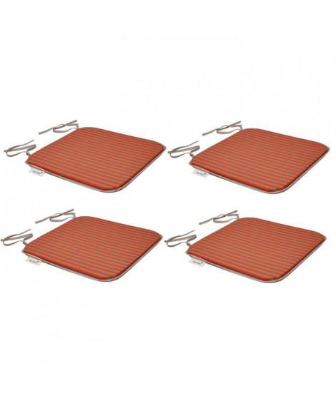 EZPELETA Set de 4 galettes de chaises carrées SOL - 40x40 cm - Orange et gris rayé