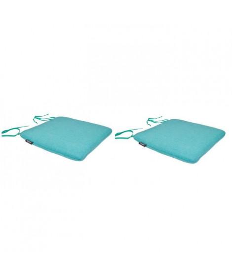EZPELETA Lot de 2 Galettes de chaise spécial Outdoor GREEN - 40x40 cm - Turquoise