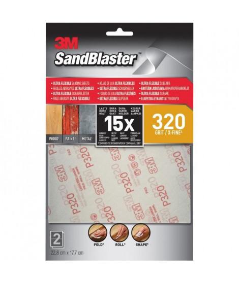 3M SANDBLASTER Lot de 2 Feuilles abrasives - 17,7 x 11,4 cm - Grain : 320