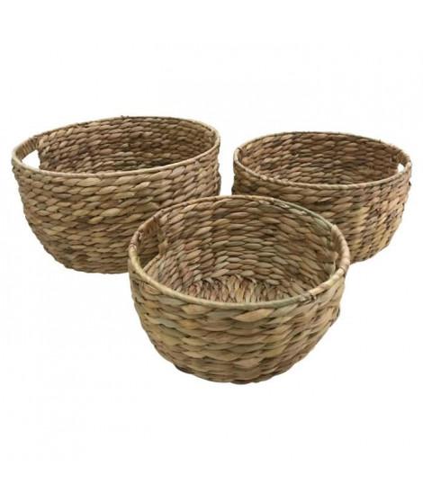 HOMEA Lot de 3 pots tréssés en jacynthe d'eau et structure métal - Ø 28 x H 28 cm / Ø 33 x H 33 cm / Ø 38 x H 38 cm - Naturel