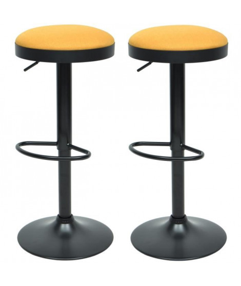 GASOLINE Lot de 2 tabourets de bar en métal - Revetement tissu jaune - Style classique - L 38,5 x P 38,5 cm
