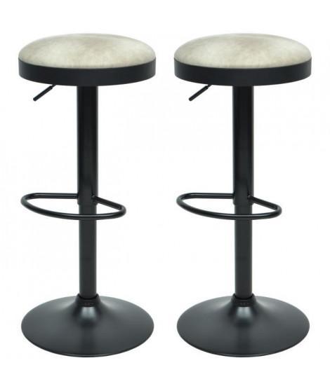 GASOLINE Lot de 2 tabourets de bar en métal - Revetement simili beige - Style classique - L 38,5 x P 38,5 cm