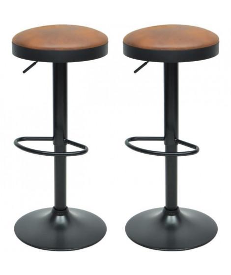 GASOLINE Lot de 2 tabourets de bar en métal - Revetement simili brun - Style classique - L 38,5 x P 38,5 cm