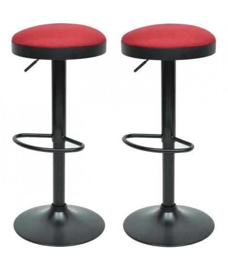 GASOLINE Lot de 2 tabourets de bar en métal - Revetement tissu rouge - Style classique - L 38,5 x P 38,5 cm