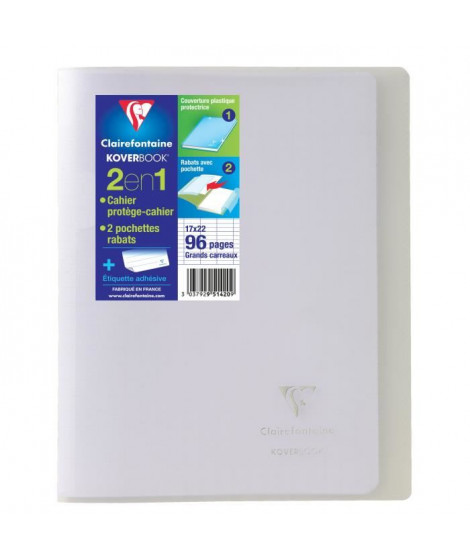 CLAIREFONTAINE Cahier piqûre Koverbook - 96 pages - 17 x 22 cm - 90 g - Transparent