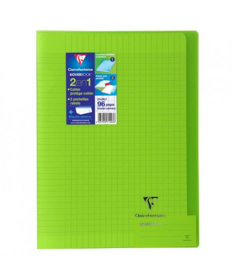 CLAIREFONTAINE Cahier piqûre Koverbook - 96 pages - 21 x 29,7 cm - 90 g - Vert