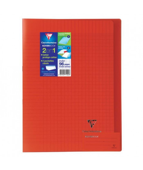 CLAIREFONTAINE Cahier piqûre Koverbook - 96 pages - 21 x 29,7 cm - 90 g - Rouge