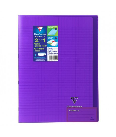 CLAIREFONTAINE Cahier piqûre Koverbook - 96 pages - 21 x 29,7 cm - 90 g - Violet
