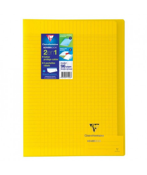 CLAIREFONTAINE Cahier piqûre Koverbook - 96 pages - 21 x 29,7 cm - 90 g - Jaune