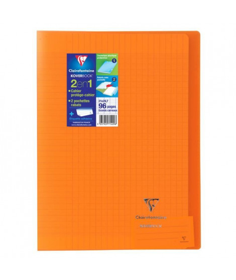 CLAIREFONTAINE Cahier piqûre Koverbook - 96 pages - 21 x 29,7 cm - 90 g - Orange