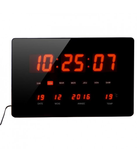 ORIUM Horloge a LED rouge Chronos - Forme rectangle - Noir