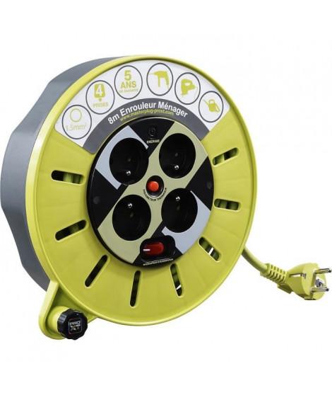 MASTERPLUG Enrouleur de bricolage nomade 8 m H05VV-F 3G1,5 avec disjoncteur thermique