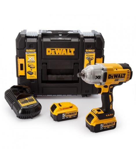 DEWALT Boulonneuse a chocs Brushless DCF899P2 - 950 Nm - Livrée avec 2 batteries 18 V et chargeur multi-voltage