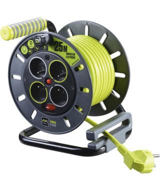 MASTERPLUG Enrouleur de bricolage 25 m câble H05VV-F 3G1,5 avec disjoncteur thermique