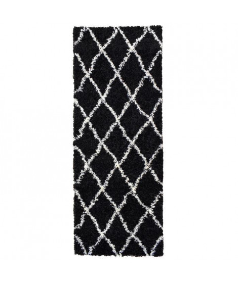 ASMA Tapis de couloir Shaggy Berbere - 100% polypropylene - 67x180 cm - Noir