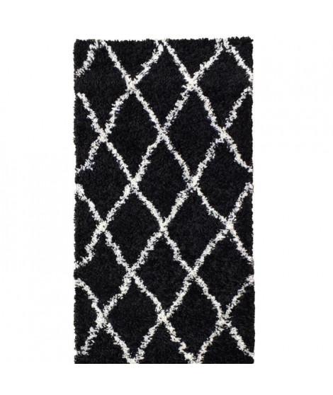 ASMA Tapis de couloir Shaggy Berbere - 100% polypropylene - 80x140 cm - Noir