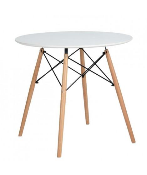 MADDIE Table a manger ronde de 2 a 4 personnes scandinave blanc laqué + pieds en bois hetre massif - Ø 80 cm