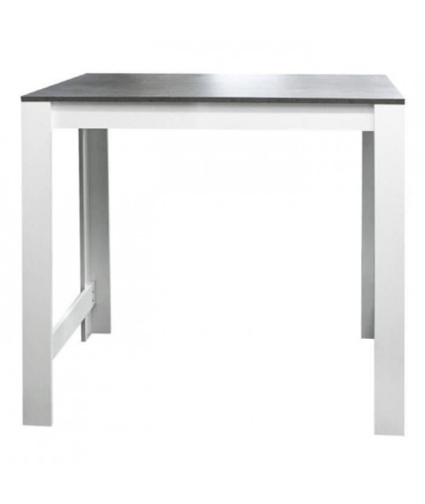 CURRY Table bar de 2 a 4 personnes style contemporain blanc mat et effet béton - L 110 x l 70 cm