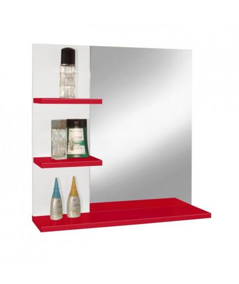 CORAIL Meuble miroir de salle de bain L 60 cm - Rouge brillant