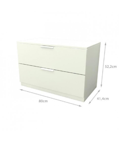 BILLUND Commode style contemporain - Décor blanc - L 80 cm